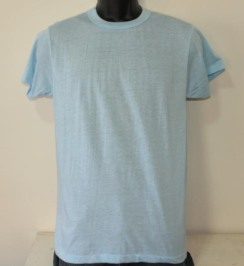 QLT vintage deadstock blank light blue t-shirt M/S