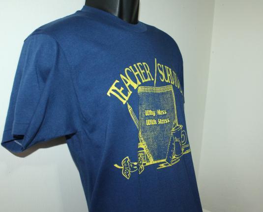 Teacher Survivor Why Mess With Stress vintage t-shirt M
