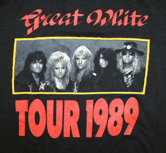 Great White Tour 1989 vtg tee Short L/XL black 80s rock band