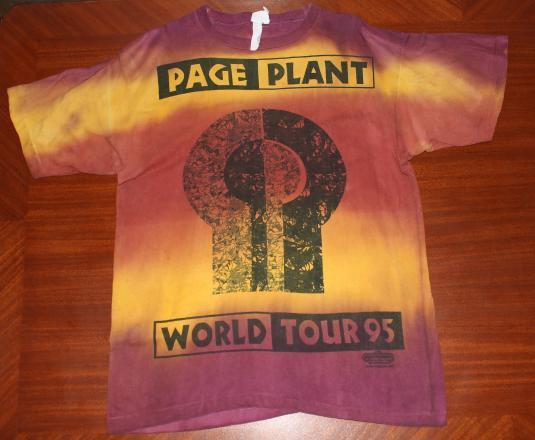 Jimmy Page Robert Plant 1995 Tour vtg tie-dye t-shirt L/XL