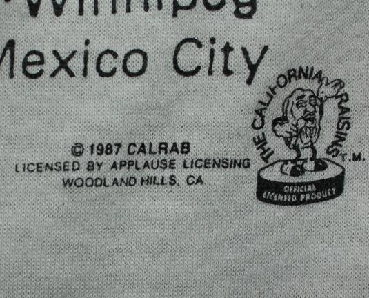 California Raisins World Tour vintage 1987 gray t-shirt XL