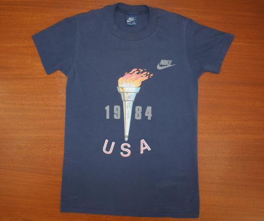 Nike blue tag USA Olympics 1984 vtg tee navy blue XS/S 80s