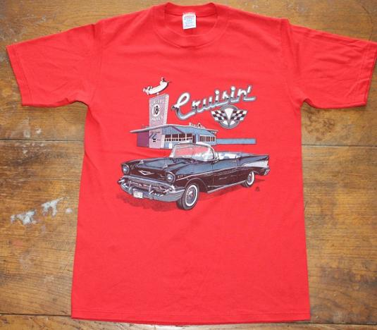 Cruisin Burgers Shakes Chevy Bel Air Diner vintage t-shirt S