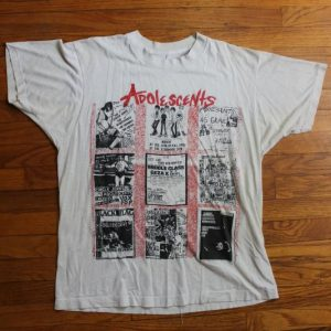 Adolescents 1980s band flyer collage concert t-shirt