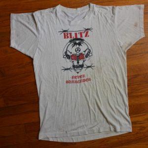 Blitz Never Surrender 1980s White vintage t-shirt