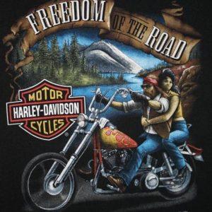 Vintage 3D Emblem Harley Davidson Freedom T-Shirt