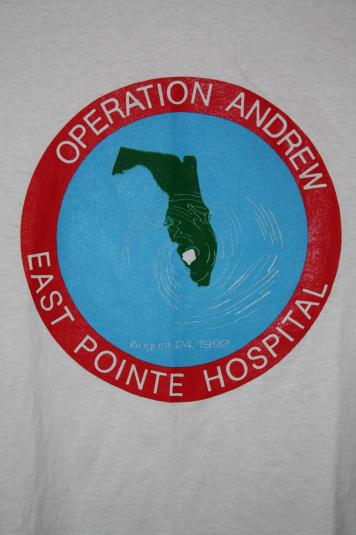 Vintage Early 90's Hurricane Andrew 50/50 Deadstock T-Shirt