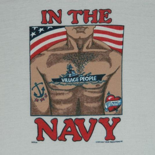 vintage THE VILLAGE PEOPLE 70S IN THE NAVY T-Shirt Gay Int