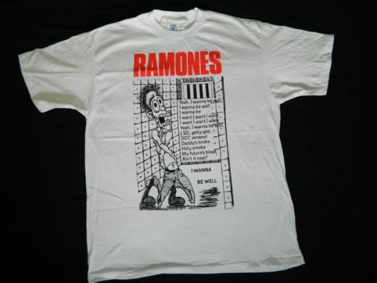 NOS RAMONES I WANNA BE WELL J HOLMSTROM Vintage T-Shirt punk