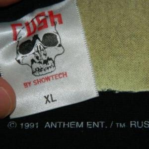 Vintage RUSH 1991 PUSHEAD ROLL THE BONES TOUR T-Shirt xl