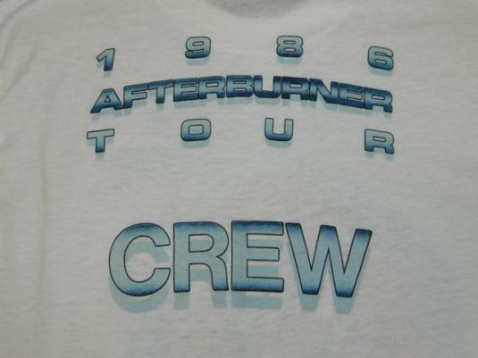 Vintage ZZ TOP CREW ONLY 1986 Afterburner Tour T-Shirt