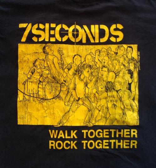 Vintage 7 SECONDS 1984 WALK TOGETHER ROCK TOGETHER T-SHIRT