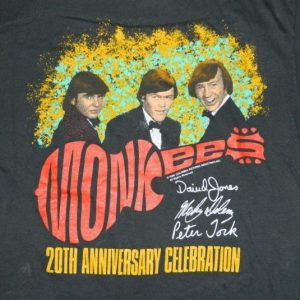 Vintage THE MONKEES 1986 CONCERT T-Shirt 20th anniversary