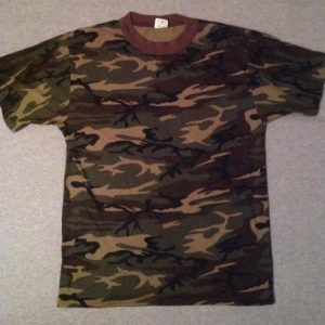 Vintage CAMO 80s T-Shirt woodland camouflage 50/50