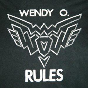 Vintage WENDY O. WILLIAMS RULES 80S T-Shirt PLASMATICS tour