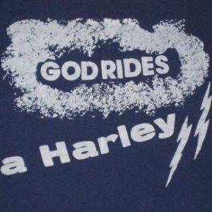 vintage 70s GOD RIDES A HARLEY T-SHIRT Davidson
