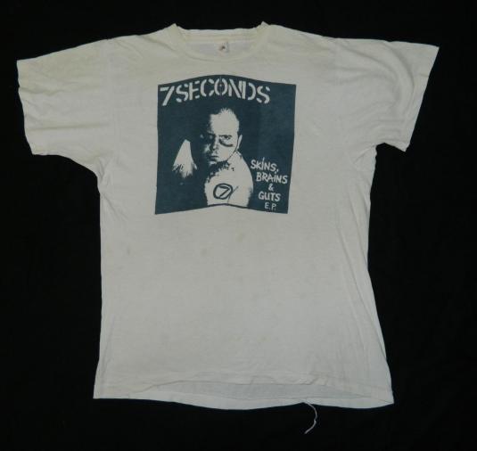 Vintage 7 SECONDS 1982 SKINS BRAINS & GUTS EP T-SHIRT sXe XL