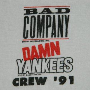 Vintage BAD COMPANY DAMN YANKEES 1991 CREW T-Shirt tour