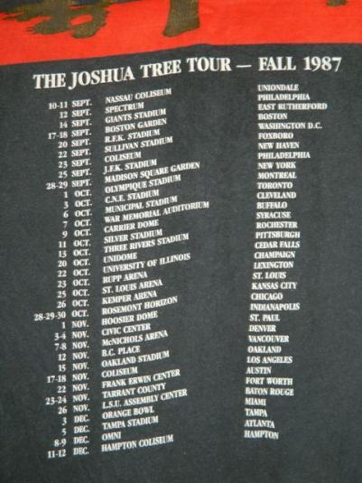 Vintage U2 1987 THE JOSHUA TREE TOUR T-Shirt