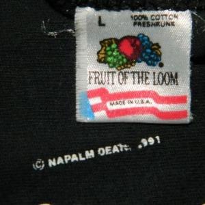 Vintage NAPALM DEATH TANK TOP 1991 US TOURt-shirt