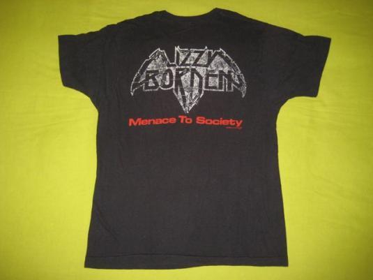 vintage LIZZY BORDEN 1986 MENACE TO SOCIETY T-Shirt 80s tour