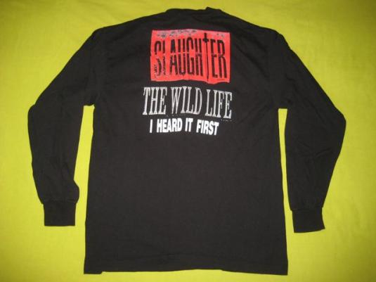 vintage SLAUGHTER 1992 WILD LIFE PROMO T-Shirt L/S 90s