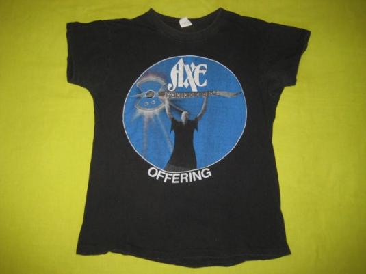 vintage AXE 1982 RAW MEAT TOUR T-Shirt Offering 80s concert