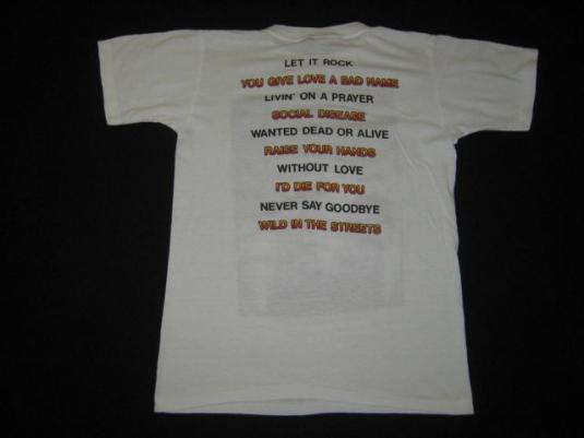 vintage BON JOVI 80S TOUR T-Shirt jon concert