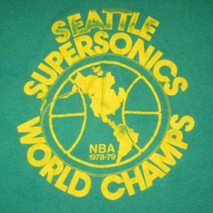 vintage SEATTLE SUPERSONICS 1978-79 WORLD CHAMPS T-Shirt nba