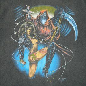 Vintage 80S FANTASY HEAVY METAL WOMAN WIZARD T-Shirt
