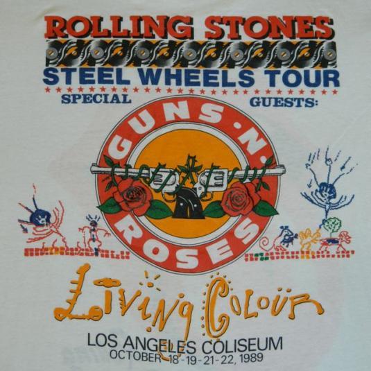 Vintage ROLLING STONES GUNS N ROSES 1989 Tour T-shirt XL