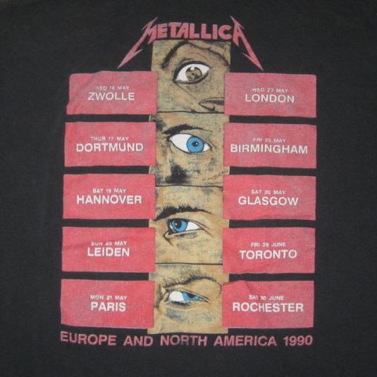 vintage METALLICA 1990 EUROPE TOUR T-Shirt concert xl metal