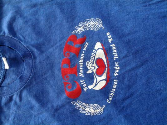 Vintage 1983 Half Marathon CPR Run T-Shirt 80s soft thin