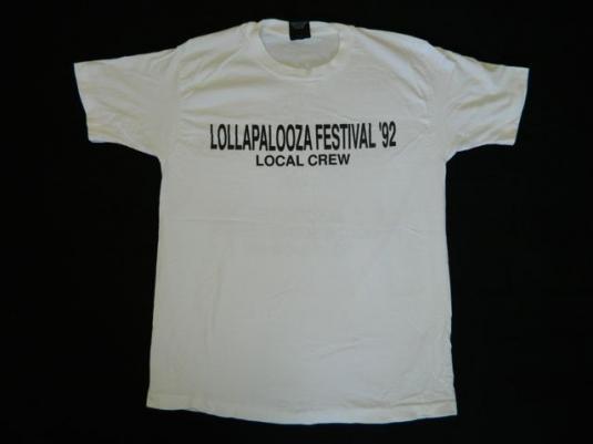 vintage LOLLAPALOOZA LOCAL CREW 1992 TOUR T-Shirt PEARL JAM
