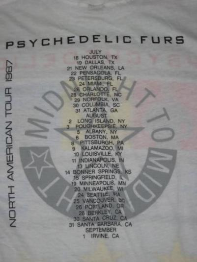 vintage PSYCHEDELIC FURS 1987 TOUR T-Shirt Pretty In Pink