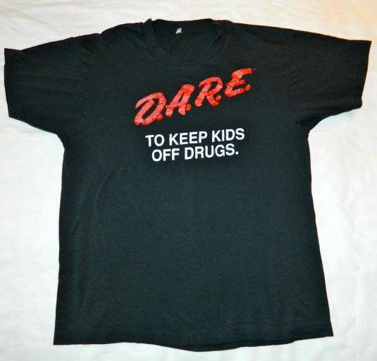 Vintage 80S D.A.R.E. TO KEEP KIDS OFF DRUGS T-Shirt sXe dare