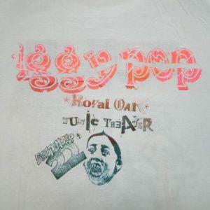 Vintage HAND SCREENED IGGY POP 80S TOUR T-Shirt XL concert