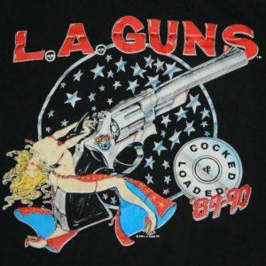 Vintage LA GUNS 1989 COCKED & LOADED Tour T-Shirt l.a. XL