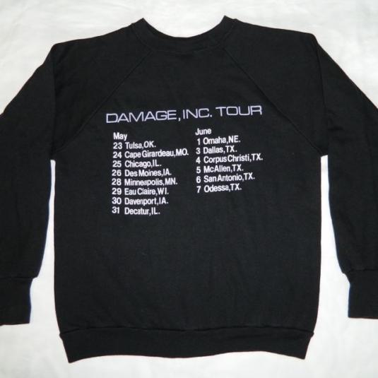Vintage METALLICA 1986 DAMAGE, INC TOUR SWEATSHIRT t-shirt