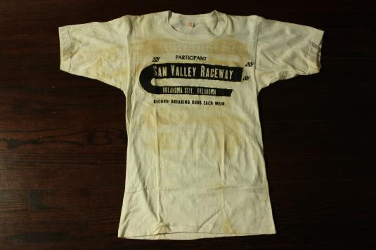 Vintage 50s San Valley Raceway Participant Hot Rod T Shirt
