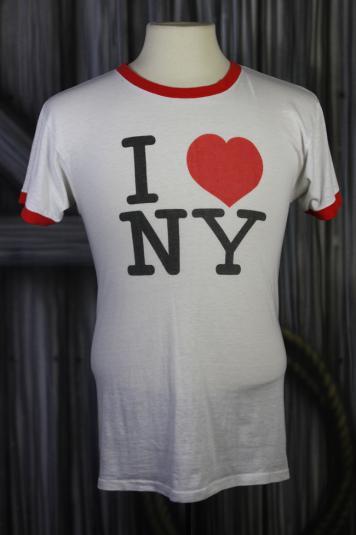 Vintage 80s I Love New York Paper Thin Ringer T Shirt