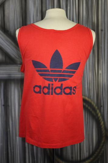 Vintage 80s Red Adidas Trefoil Athletic Tank Top T Shirt