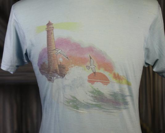 Vintage 80s Lighthouse Surf Ocean Sunset T Shirt