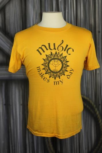 Vintage 70s/80s Music Makes My Day Hippie Concert T Shirt