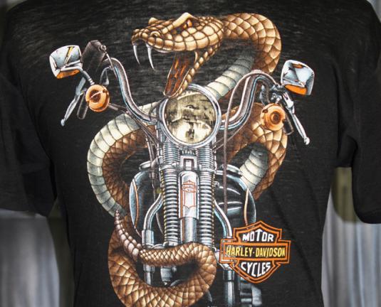 Vintage 80s Harley Davidson Motorcycle Burnout Snake T Shirt