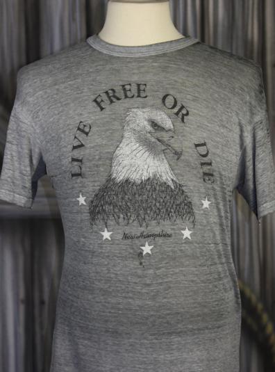 Vintage 80s Live Free or Die Burnout Eagle T Shirt