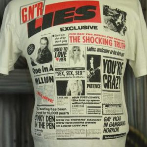 Vintage 80s Guns N Roses G N' R Lies Concert Tour T Shirt