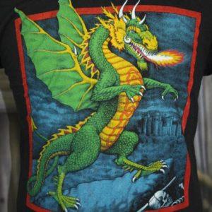 Vintage 80s Dragon Fantasy Castle Screen Stars T Shirt