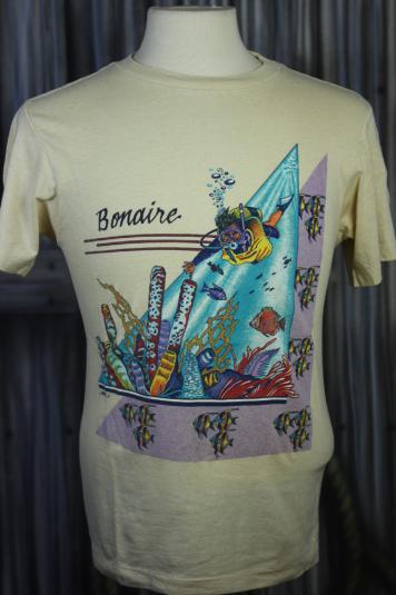 Vintage 80s Bonaire Caribbean Island Scuba Diving T Shirt