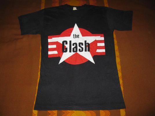 80s THE CLASH STAR AND STRIPES VINTAGE T-SHIRT PUNK